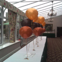 Gold Brown and Orange balloon table display